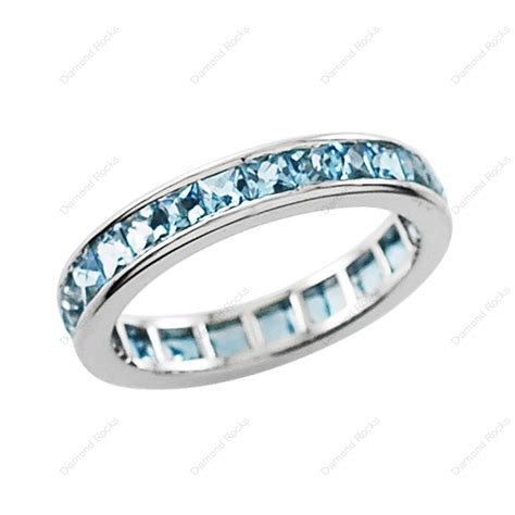 aquamarine channel set eternity ring in platinum select