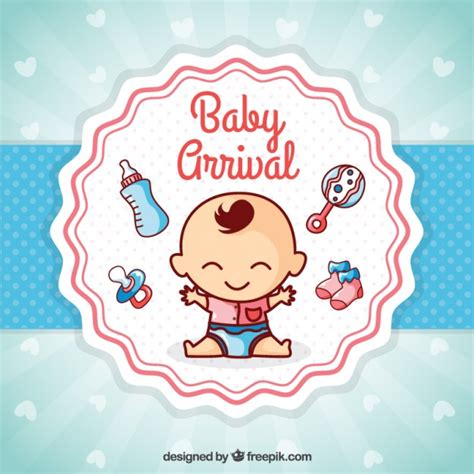 baby arrival cards templates baby arrival card vector free