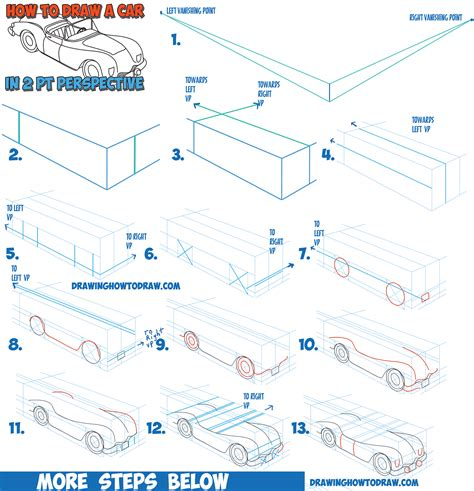 how to draw a convertible step by step cars draw cars how to draw a car convertible in two point perspective