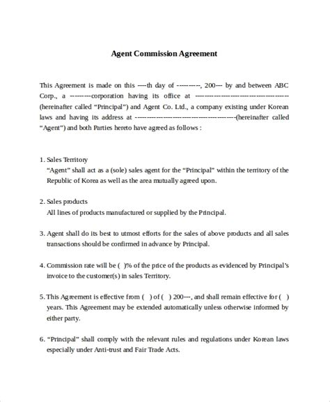 sales commission contract template free 9 commission sales agreement templates sle templates