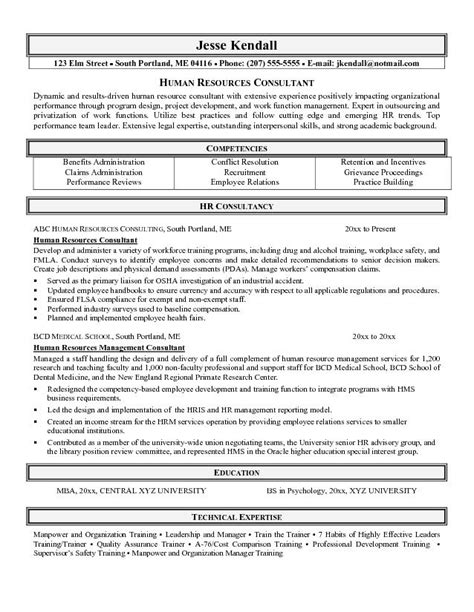 Resume Format Management Consulting Sle Of Hr Cv