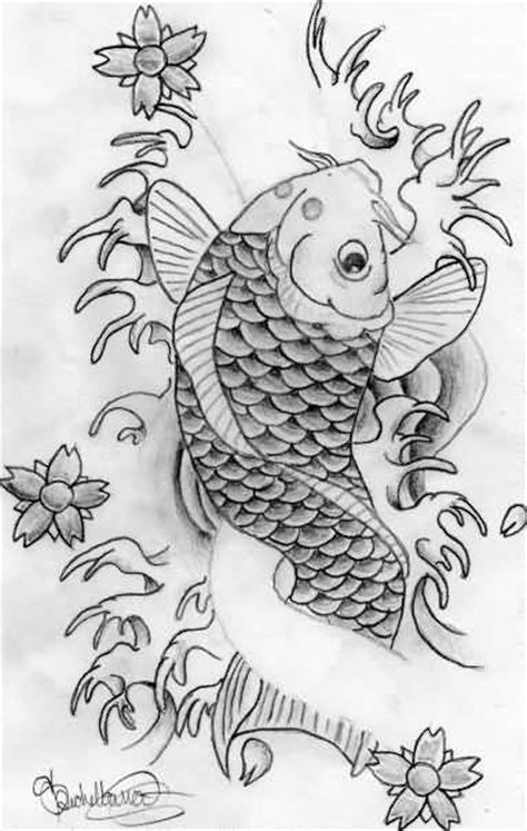 tattoo koi drawing a beautiful draw koi fish tattoo design tattooshunter com