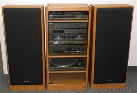Rack System Stereo vintage technics audio system in rack speakers turntable