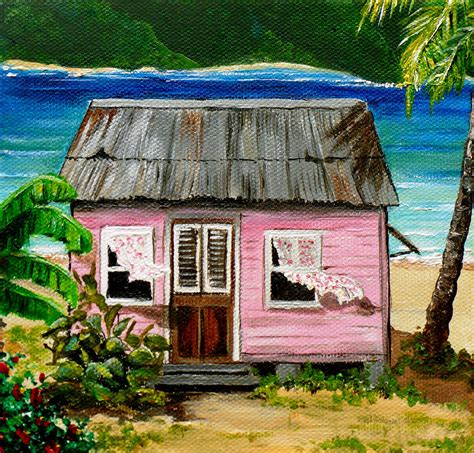colorful houses painting pink caribbean house painting by karin dawn kelshall best