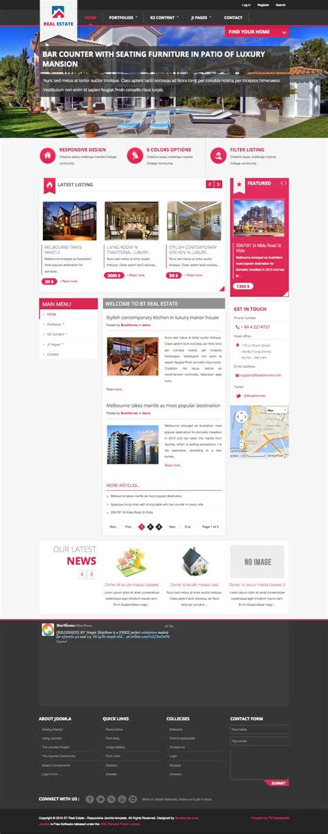 bt real estate joomla vacation rentals automotive template