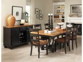 Dining Room Table And Bench Set Country Style Dining Room Sets With Black Painted Dining Table And Chairs With Brown Fabric