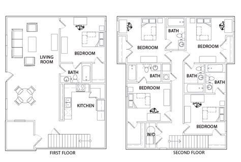 the retreat floor plans 5 bed 5 bath courtyard the retreat student housing