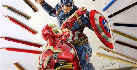 speed drawing captain america  iron man civil war tattoo blog