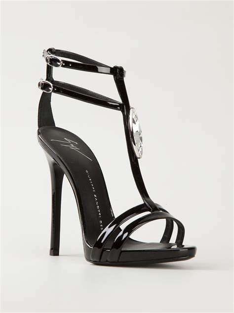 black sandals for giuseppe zanotti strappy sandals in black lyst