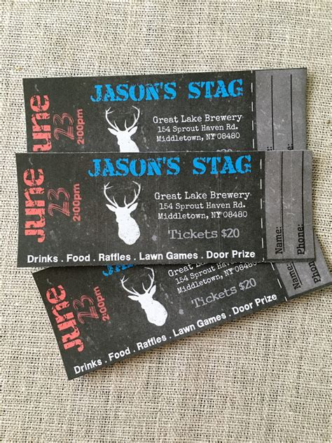 stag tickets template free stag buck bachelor event tickets diy digital printed