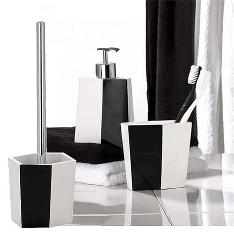 wenko bicolour bathroom accessories set black white at