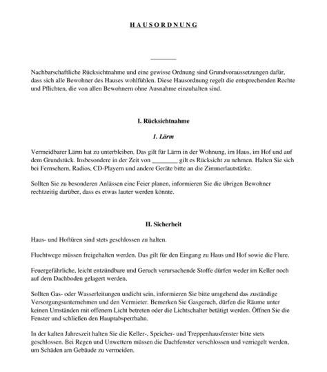 Hausordnung Muster by Hausordnung Mietrecht Muster Vorlage Word Und Pdf