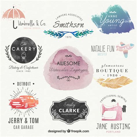 Lovely Watercolor Logos Vector Free Download Watercolor Logo Template