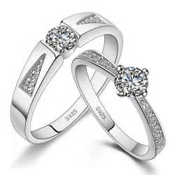 His amp hers matching couple sterling silver rings cz wedding band set