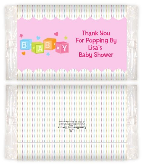 Baby Shower Popcorn Wrappers by Baby Blocks Pink Baby Shower Popcorn Wrappers Baby