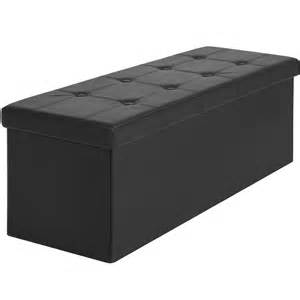 Ottoman Seat Storage Bench Faux Leather Folding Storage Ottoman Large Black Bench