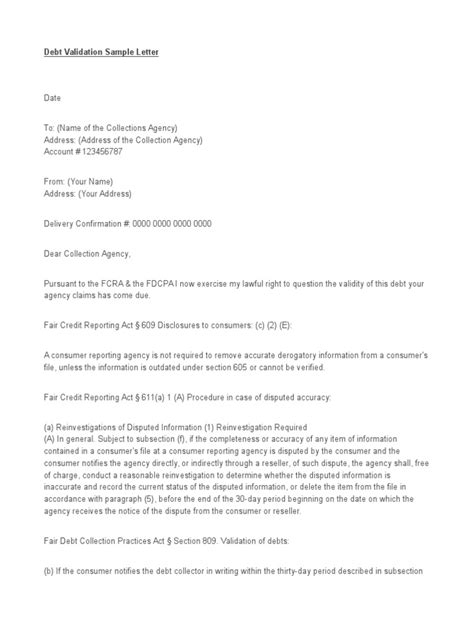 Dispute Letter Pdf Fcra Section 609 And 605 Letter