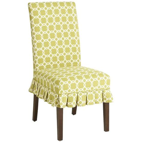 Green Dining Chair Covers Parsons Dining Chair Green Geometric Slipcover Pier1 Us Decor Ideas