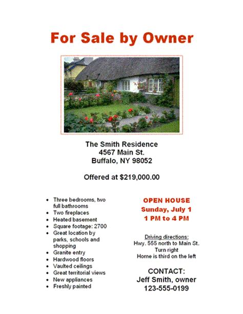 Home For Sale By Owner Flyer Template for sale by owner flyers