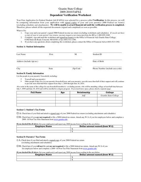 Fafsa Independent Verification Worksheet by Worksheets Verification Worksheet Fafsa Opossumsoft