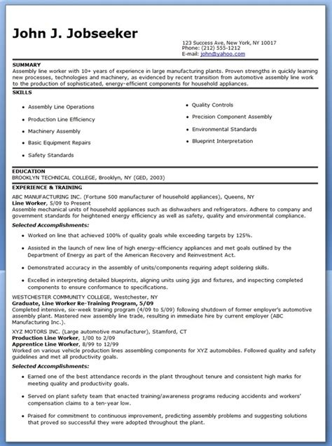 Resume Templates For Production Production Line Worker Resume Exles Creative Resume Design Templates Word