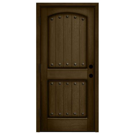 Exterior Entry Doors For Home Steves Sons 32 In X 80 In Rustic 2 Panel Plank Stained Mahogany Wood Prehung Front Door