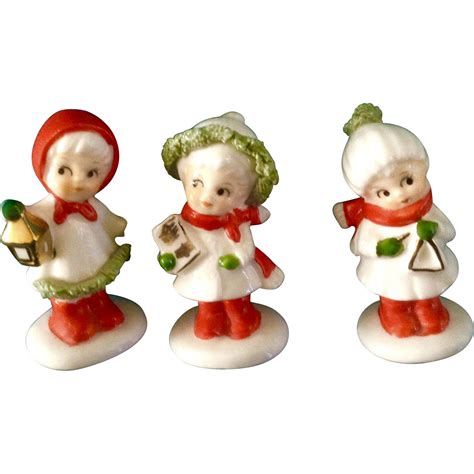 vintage napco bone china miniature christmas girl carolers