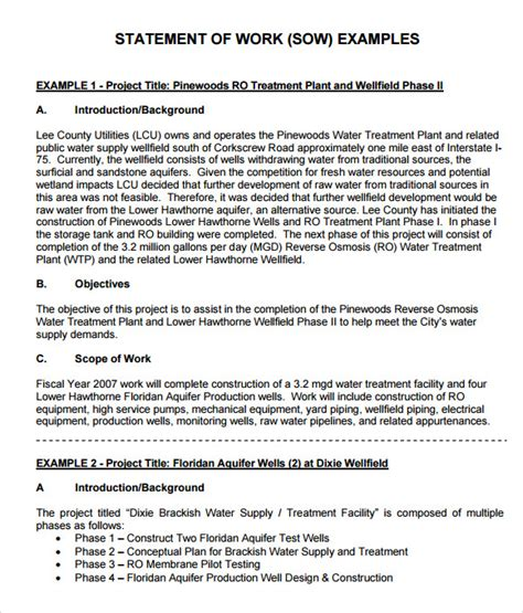 statement of work template free statement of work 7 free sles exles format