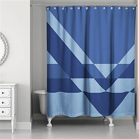angled shower curtain angled inverse shower curtain in navy blue bed bath beyond