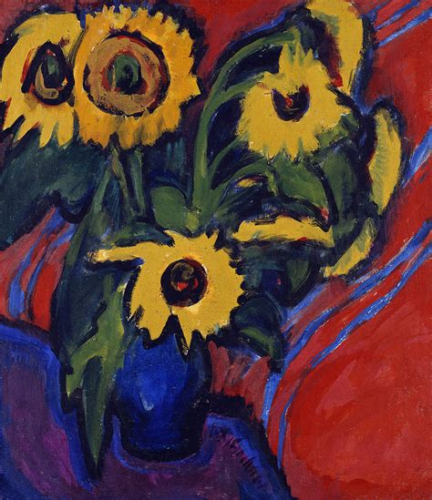sunflowers painting by ernst ludwig kirchner