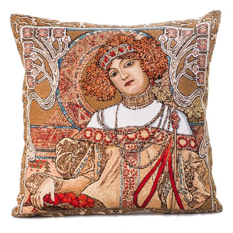 tapestry pillows for couch autumn alphonse mucha decorative tapestry throw pillow