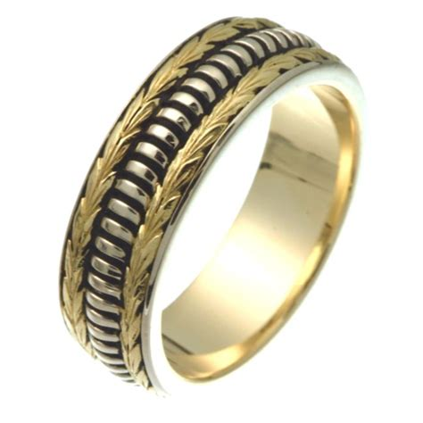 Handcrafted Wedding Bands - 25837e 18k crafted wedding ring