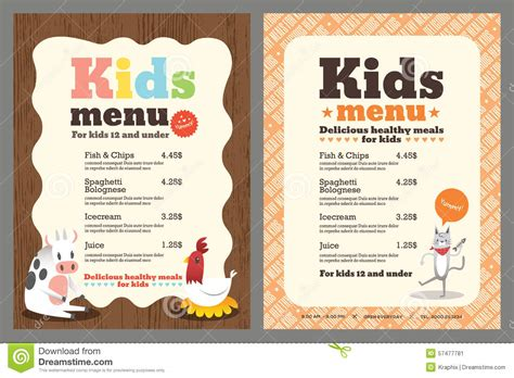 kid menu template menu vector template stock vector image 57477781