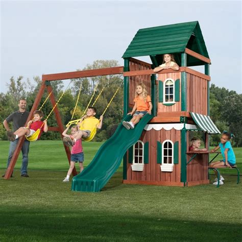 outdoor swing slide sets swing n slide newport wood swing set and playhouse
