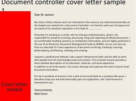 Sle Cover Letter For Document Controller by Document Controller Cover Letter