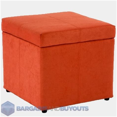 Orange Storage Ottoman Home Loft Concept T Stitch Microfiber Storage Cube Ottoman Burnt Orange Ebay
