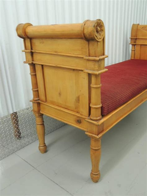 velvet bench cushion carved pinewood bench with velvet cushion for sale at 1stdibs