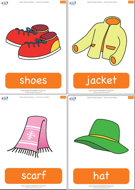 printable first words flashcards for toddlers put on your shoes flashcards super simple