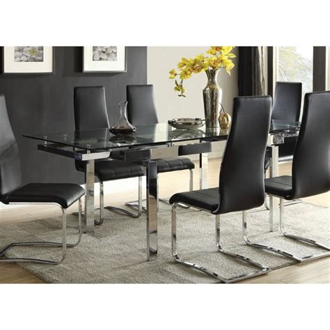 coaster glass top dining table in chrome best price