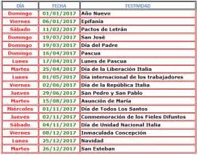 Calendario 2017 Fechas Festivas Calendario 2017 Italia 171 Excel Avanzado