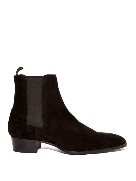 chelsea suede boots mens laurent suede chelsea boots in black for lyst