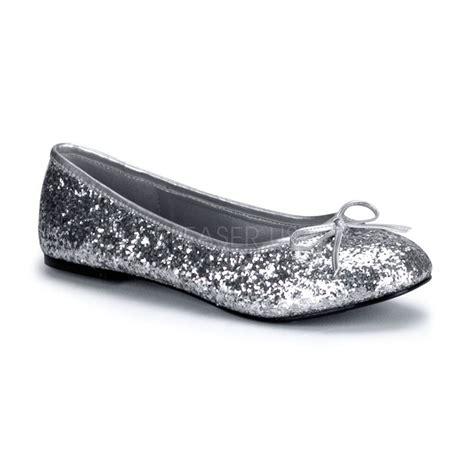 s basic classic sparkle silver glitter flats