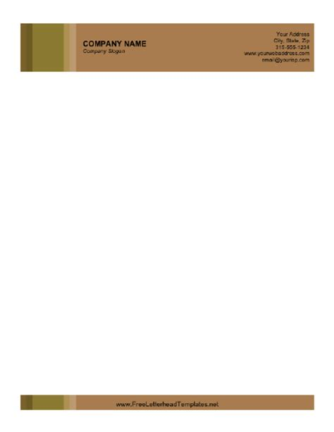 business letterhead brown background