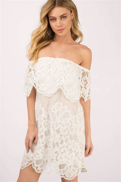 pretty white day dress  shoulder dress shift dress