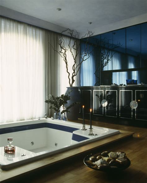 Blue And Beige Bathroom Ideas Sunken Bathtub Photos Design Ideas Remodel And Decor