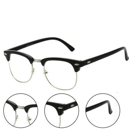 black retro half frame horn rimmed glasses walmart