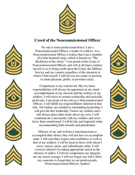 What Is A Non Commissioned Officer by Creed Of The Noncommissioned Officer