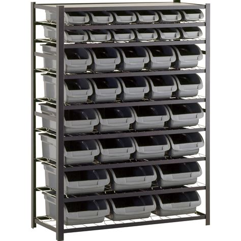 metal shelving system edsal single sided metal shelving unit with 36 bins 44in