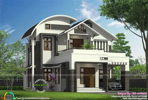 curved roof cabin 1855 sq ft curved roof mix modern home kerala home
