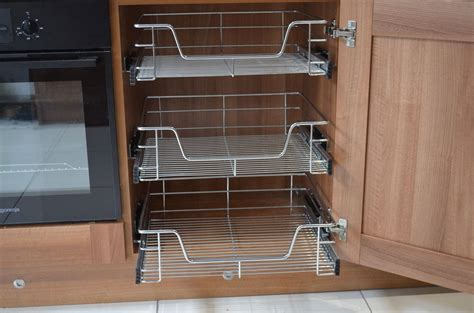 kitchen cabinet pull out baskets pull out wire baskets kitchen larder base unit cupboard 500mm x 4 soft close ebay